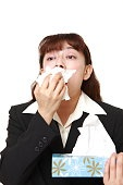 businesswoman with an allergy