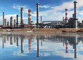 Oil refinery factory witžh reflection