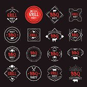 Barbecue party icons.