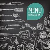 Chalkboard restaurant food menu.