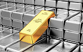 Stack of Golden and Silver Bars in the Bank Vault