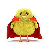 Little Chicken Superhero isolated on white background