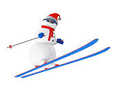 Happy Snowman on Ski Jumping from a Springboard