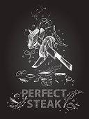 Perfect steak quotes illustration on chalkboard
