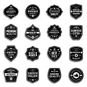 Set retro style premium quality badges and labels with shadow.