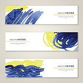 Set of abstract vector watercolor bannes