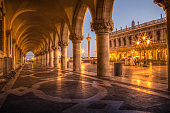 Doges Palace colums at dusk, Venice, Italy