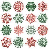 16 isolated snowflake icons. Hand drawn vector elements