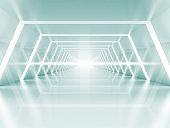 Abstract illuminated empty light blue shining corridor interior