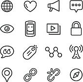 Social Communication Icons - Line Series