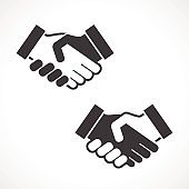 Black Handshake Vector Icon