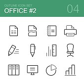 Office vector outline icon set 2