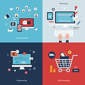 Icons for communication, web design, programming, workflow, social network