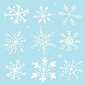 Set of hand-drawn snowflakes