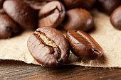 Closeup of coffee beans