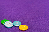 Buttons on fabric texture background