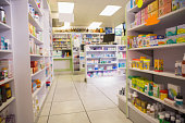 Close up shelves of drugs