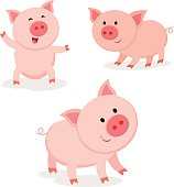 Cute pigs. Cheerful pig.