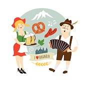 Oktoberfest label, Bavarian man and waitress with beer