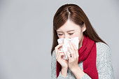 woman catches a cold