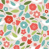 Awesome seamless pattern made of cute birds on flowers