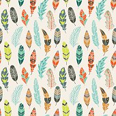 Vector seamless pattern with vintage ethnic feathers in pastel colors