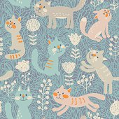 Seamless pattern in vector with cute cats and flowers
