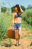 Beautiful girl with a suitcase