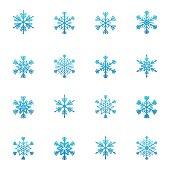 Set of blue snowflakes icon