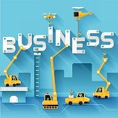 Business text illustration in construction