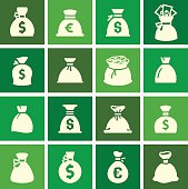 Money bags, set icons on green squares