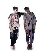 Two male zombies standing on white background, whole body