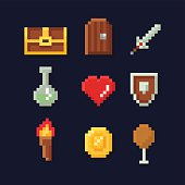Vector pixel art illustration isons for fantasy adventure game development