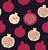 Seamless decorative colorful pattern with pomegranates