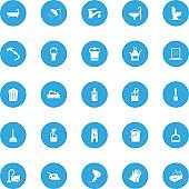 Cleaning Vector Icons - 25 Blue Icons