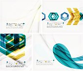 Set of abstract geometric backgrounds. Waves, triangles, lines