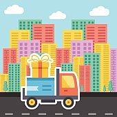 Delivery concept. Creative trendy vector illustration.