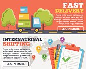 Fast delivery and international shipping flat illustration concepts set