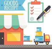 Goods receipt concept. Vector illustration