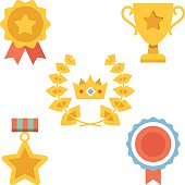 Medals, awards and achievements icons set