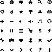 Black minimalism style pictograms set. Vector icons set for web