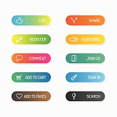 Modern banner button with social icon design options. Vector