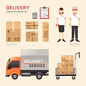 Vector people set  delivery shipping service job character icons