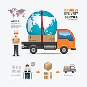 Infographic Social Business delivery service template design.