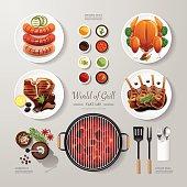 Infographic food grill,bbq,roast,steak flat lay idea. Vector