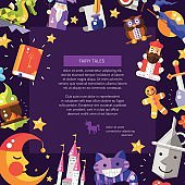Illustration of postcard with fairy tales flat design magic icons