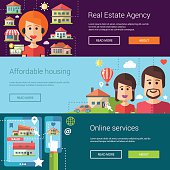 Set of real estate flat modern illustrations, banners, headers with