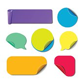 Set of isolated colorful paper stickers.