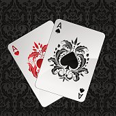 Two aces playing cards - spades and hearts