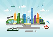 Hong Kong City Skyline Color Panorama Vector Illustration - Illustration